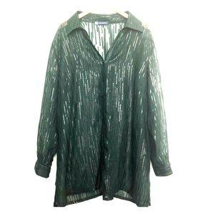 2X Pennington's Dark Green Button Up Blouse